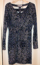 TRENDY BCBG ABSTRACT CRISS CROSS TUNIC MINI DRESS LONG SLEEVES CAGED BACK L - $12.99
