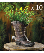 Lot of 10 SPURRED COWBOY BOOT PLANTERS Indoor Outdoor Party Centerpiece - $158.20