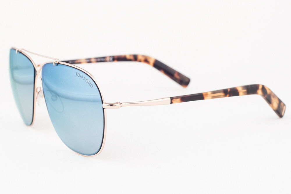 Primary image for Tom Ford April Rose Gold / Blue Mirror Aviator Sunglasses TF393 28X