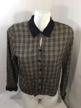 Notations Women Plaid Button Up Black White top Thin Fabric Size S - $8.59