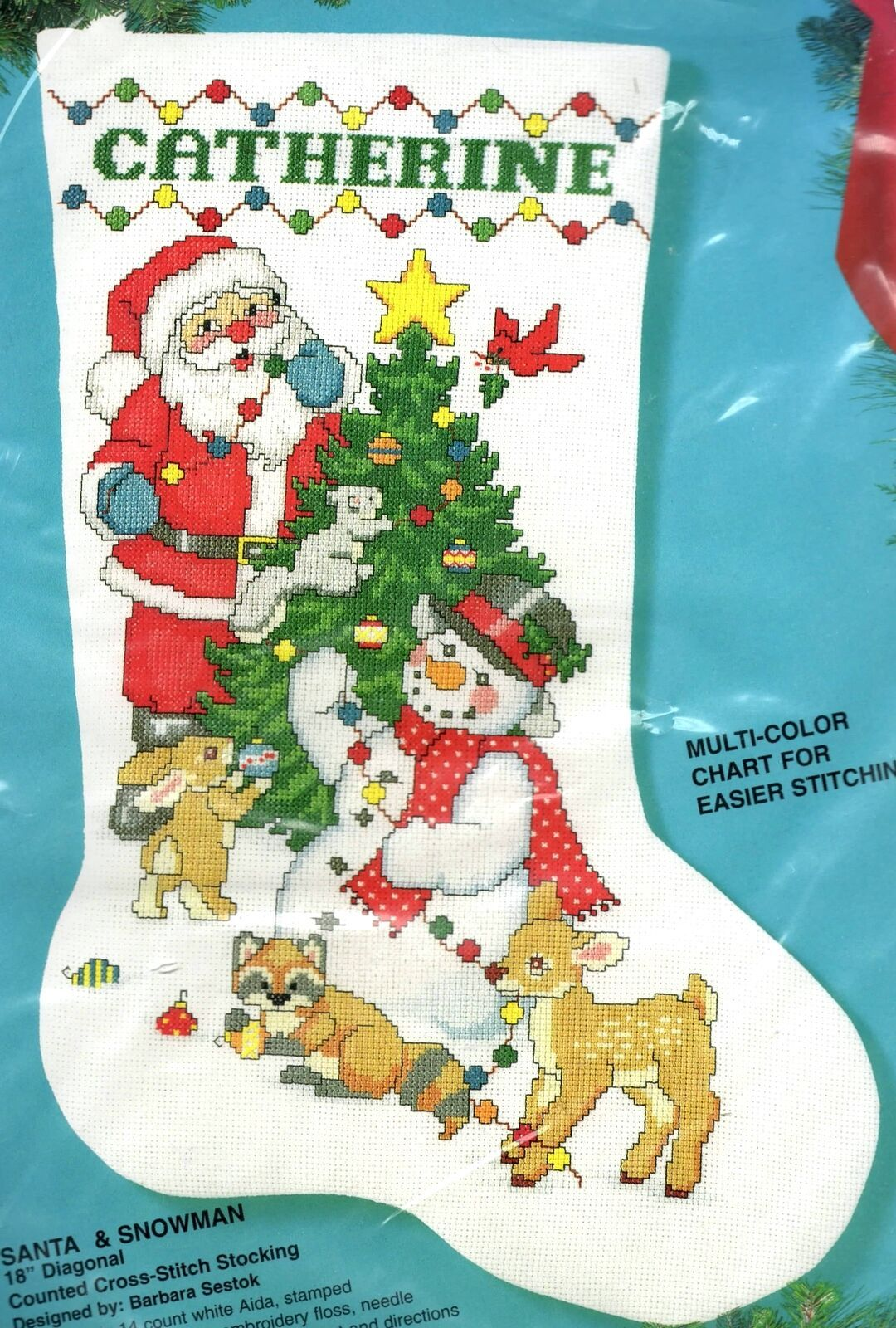 Primary image for Bucilla Santa & Snowman Christmas Tree Animals Cross Stitch Stocking Kit 83128