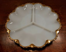 """Vintage Milk Glass divided dish with gold trim Approx 9.5""""  - $9.49"""