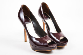 Christian Dior Maroon Red Patent Leather Peep Toe Platform Pumps SZ 37.5 - $135.00