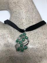 Vintage Jade White Bronze Silver Pendant Necklace Choker Pendant - $99.00