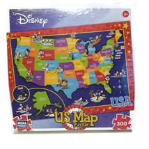 "Mega Puzzles Disney U.S. Map 19"" x 26"" 2014 300 Piece Puzzle New Sealed  BA - $27.54"