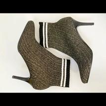 Stuart Weitzman Waverly Knit Sock Bootie Stiletto Heel Metallic Ankle Boots 9 - $241.65