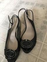 Anne Klein Sz 7.5m Fabbriano Peep Toe Slingback Wedge Heels Leather Upper - $27.76