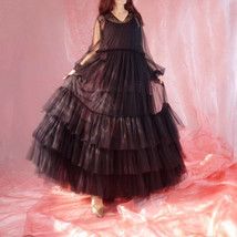 Women Black Maxi Dress Gown Long Sleeve Loose Tiered Tulle Party Dress Plus Size image 4