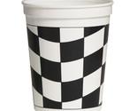 16 oz Plastic Stadium Cup Black/White Check/Case of 12