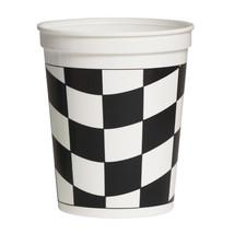 16 oz Plastic Stadium Cup Black/White Check/Case of 12 - $26.00