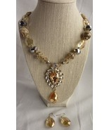 LUXE Statement Gold Champagne Crystal Cocktail Necklace Boutique and Ear... - $52.87