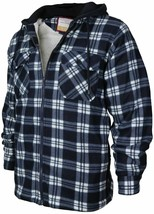 Men's Flannel Zip Up Fleece Plaid Sherpa Hoodie Jacket New /w Defect Size XL