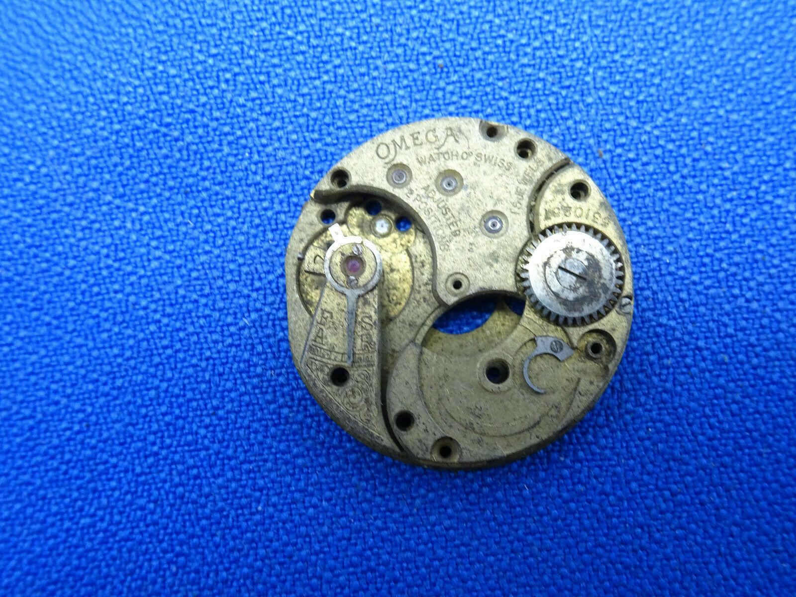 1915 OMEGA TRENCH WATCH PARTIAL RARE ANTIQUE MOVEMENT FOR REPAIR OR PARTS - $120.94
