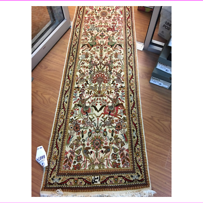 Primary image for Genuine Traditional Oriental Hand Made Wool Area Rug  Runner 27' x 89""