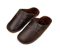 Women Leather Slippers Anti-Slip Indoor Scuffs, Brown