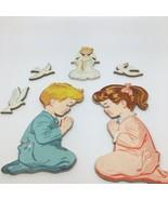 Vintage 1950's Praying Girl & Boy Pressed Cardboard Wall Artwith Angel ... - $23.36