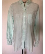GAP Women's Button Down Shirt Light Green Shrunken Boyfriend Flannel Size M - $0.98
