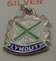 Sterling Silver Vintage Crest Charm Enamel Plymouth - $6.86