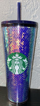 Starbucks 2020 Holiday Green Purple Iridescent Sequin Cold Tumbler Venti... - $42.74