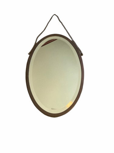 "Antique Brasscrafters 20.25""x13.5"" Art Deco Brass Oval Mirror Made in USA Vanity"