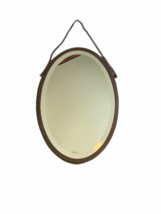 """Antique Brasscrafters 20.25""""x13.5"""" Art Deco Brass Oval Mirror Made in USA Vanity image 1"""