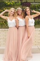 Women Blush Tulle Skirt Full Long Tulle Skirt, Blush Pink, High Waisted, Wedding image 6