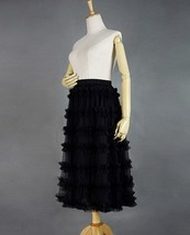 Black Tulle Midi Skirt Outfit Women Full Midi Tulle Skirt High Waisted Plus Size image 3