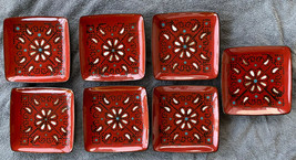 """7 American Atelier at Home Marquee Red Square Salad Plates 8"""" Discontinued - $49.99"""