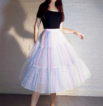 Women Girl Rainbow Long Tulle Skirt Polka Dot Rainbow Skirt Holiday Skirt Outfit image 7