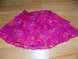 Size XS 4-5 Gap Kids Magenta Pink Tiered Ruffle Floral Short Mini Skirt EUC - $14.00