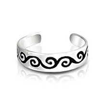 14k White Gold Plated 925 Sterling Silver Women's Adjustable Swirl Midi ... - $9.99