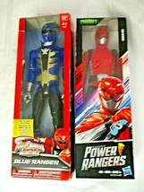 "Power Rangers Action Figures Red Blue Ranger 12"" Set of 2 New In Box Hasbro - $39.59"