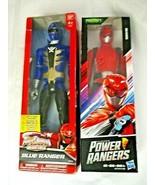 "Power Rangers Action Figures Red Blue Ranger 12"" Set of 2 New In Box Hasbro - $39.59"