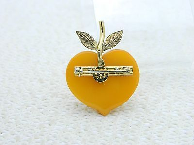 VTG AMBER GUILD 12K Gold Filled Butterscotch Amber Apple Pendant Brooch