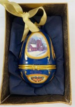 Mr Christmas Hinged Musical Egg Ornament Valerie Parr Hill Christmas Church  - $29.65