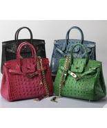 Croc Embossed Italian Leather Lock and Key Satchel Handbag Shoulder Bag ... - $169.95