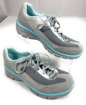 Skechers Relaxed Fit Memory Foam Gray Blue Sneakers Shoes Women's 9 - $26.92