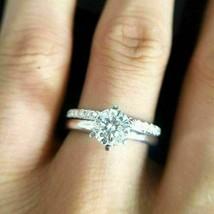 2.70Ct Round White Diamond Engagement Wedding Bridal Ring Set in 14K Whi... - £225.94 GBP