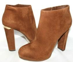 ❤️MICHAEL Kors Haven Cognac Suede Leather Platform Zip Boot 9.5 M GREAT! L@@K!24 - $46.54