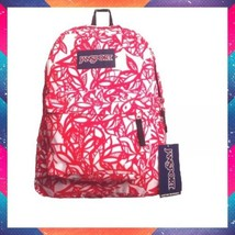 New Jansport Superbreak Backpack  Dusk Jungle Fur Red White Travel Gym  ... - $29.70