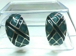 """Vintage Jewelry:1 """" Blue &SilverTone ClipOn """"Made in U.S.A,"""" Earrings 02... - $9.99"""