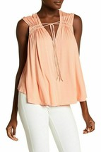 Free People Mancherons pour femmes OB654865 Top Relaxed Peach Orange Tai... - $25.25