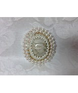 Brooch Large Oval Bead Embroidered Handmade Polymer Clay Focal White Pea... - $45.00