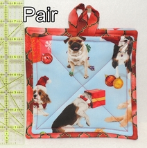 Pot Holders - Pair - Mischievous Christmas Puppy Dogs Pug - PHDR - $8.00