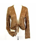 CHICO'S Size 1 (Medium 8 10) Copper Lace Tied Topper Jacket - $19.99