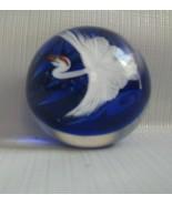 "Daniel Salazar for Lundberg Studios Japanese Crane Art Glass Paperweight 2"" - $193.05"