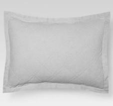 1 Threshold Linen Cotton Blend Quilted Euro Sham Seagull Light Gray Nwop - $17.99