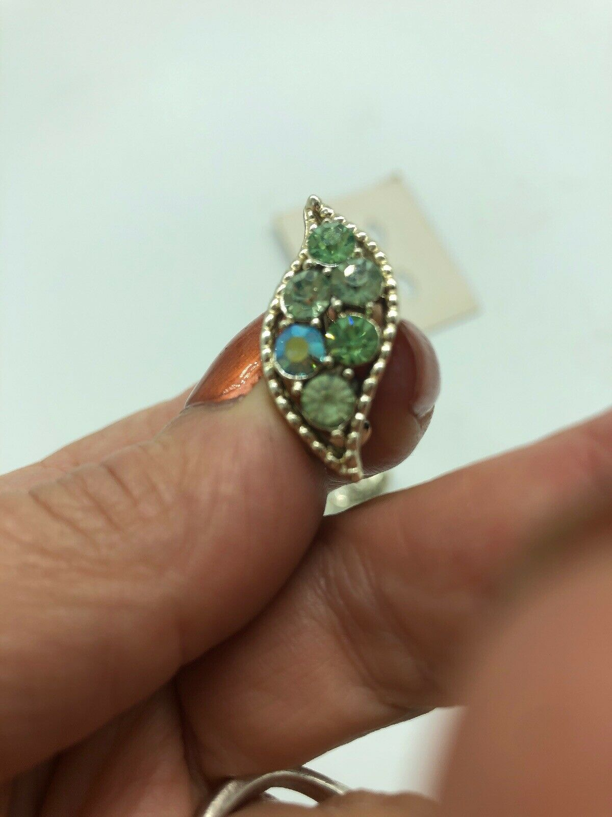 Vintage Signed Coro Rhinestone Pin Clip Earrings On Original Card Set Blue Green
