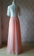 2 Piece Bridesmaid Dress Long Tulle Skirt Sleeve Crop Lace Top Bridesmaid Outfit image 4