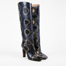 Valentino Garavani NWT  Blue Multi Snakeskin Knee High Boots SZ 37 - $1,060.00